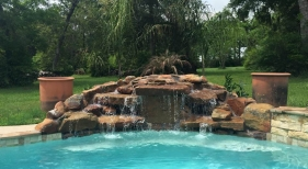 Freeform Pool with Rock Waterfall