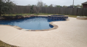 Freeform Pool and Spa with Firepit