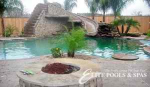 pool slide rock feature elite pool houston