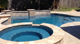 Freeform Pool and Spa with Tanning Ledge