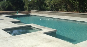 Geometric Pool and Spa with Tanning Ledge