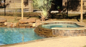 Freeform Pool and Spa with Spillover