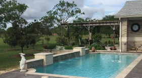 Geometric Pool with Sheer Descent and Pergola