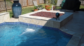 Geometric Pool with Spillover on Firepit