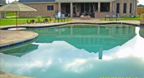 Freeform Pool with Tanning Ledge and Cocktail Table