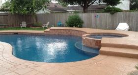 Freeform Pool and Spa with Benches
