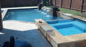 Geometric Pool and Spa with Sheer Descent