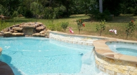 Freeform Pool and Spa with Rock Waterfall